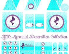 Little Mermaid Inspired FULL Decoration Set - INSTANT DOWNLOAD Printable Party Shower Cupcake Toppers Bottle Wraps Pennant Banner Favor Tags