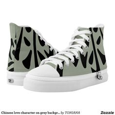 Shop Chinese love character on grey background High-Top sneakers created by TONIANA. Printed Shoes, Gray Background, Converse Chuck Taylor, High Tops, Athletic Shoes, High Top Sneakers, Chinese, Comfy, Pairs