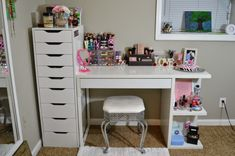 My Vanity and Makeup Storage | IKEA Alex 9 and MICKE Desk with Integrated Storage