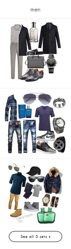 """men"" by svvrrvs ❤ liked on Polyvore featuring A.P.C., Armani Collezioni, Joseph, Corthay, BOSS Hugo Boss, Tumi, HUGO, men's fashion, menswear and NIKE"