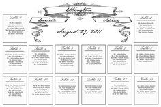Vintage black and white banner wedding seating chart by BlushNotes, $50.00