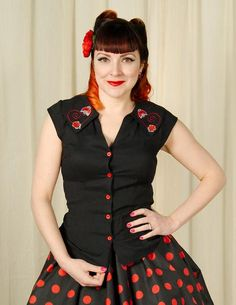 Nena Lady Bug Blouse Top – Cats Like Us #voodoovixen #retro #pinup #summer #1940s #1950s #fashion #style