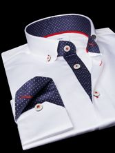 White Shirt Navy Polka-dots Lining Buttoned Down Collar Corporate Shirts, Corporate Uniforms, Double Collar Shirt, Collar Shirts, Stylish Shirts, Casual Shirts For Men, Garner Style, Buy Shirts, Best Wear