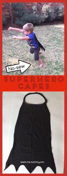 No Sew Superhero Capes, reusing old t shirts!