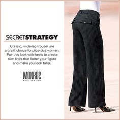 Classic, wide-leg trouser are a great choice for plus-size women. Short Legs Long Torso, Great Women, Plus Size Women, Wide Leg, Trousers, Success, Slim, Fitness, Fashion