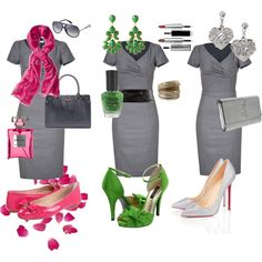 Grey dress, created by marrylynn on Polyvore