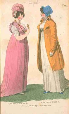 Fashions of London and Paris, Evening and Walking Dress, August 1802.