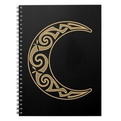Shop Celtic Crescent Moon Notebook created by thallock. Tribal Tattoos, Tattoos Skull, Celtic Tattoos, Sleeve Tattoos, Tribal Images, Celtic Circle, Moon Drawing, Triple Moon, Tattoo