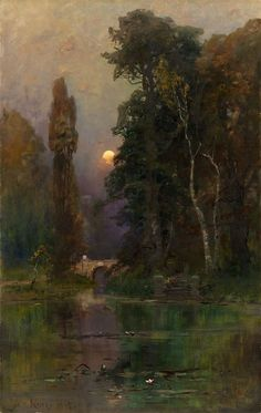 Ornamental Lake in the Park (1905) by Julius Klever (Russian: Юлий Юльевич Клевер; b. 31 January 1850; Dorpat, Russian Empire – d. 24 December 1924; Leningrad, Soviet Union) Oil on canvas. Private collection. https://en.wikipedia.org/wiki/Julius_von_Klever