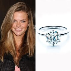 Brooklyn Decker's Solitare Diamond Engagement Ring by Tiffany and Co. Via The Celebrity Bride Guide.