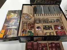 I also got a custom insert for 7 Wonders, from @tbt_gaming! This compressed 7 wonders plus 3 expansions into one box!