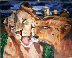 Take a closer look...Lions in a corn field