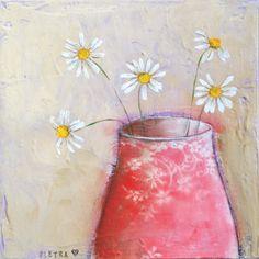 painting of red vase with daisies van PietraPietDesigns op Etsy