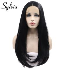 Sylvia Heat resistant Synthetic nature black lace front wig Soft Long black middle parting wig for women drag queen glueless wig