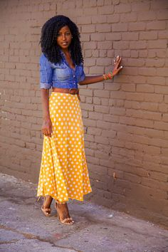 Fitted Denim Shirt + Dotted Tea Length Skirt by StylePantry Modest Fashion, Fashion Outfits, Womens Fashion, Skirt Fashion, Style Fashion, Workwear Fashion, Fashion Blogs, Fashion Moda, Petite Fashion