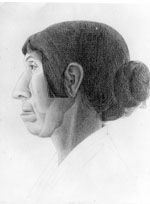 Eve-profile by Frank Hinder, pencil, 1933