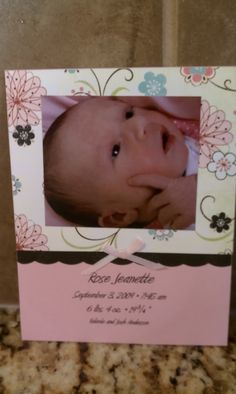 handmade baby girl birth announcement