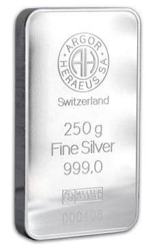 250g Argor Heraeus 99.9% Fine Silver Bullion Bar. Heraeus has been around in Europe since before WWII and it is also noteworthy that many European Assayers/Refiners Mint their bars in Metric divisions as opposed to the (slightly) more cumbersome and öld Fashioned Troy Ounces