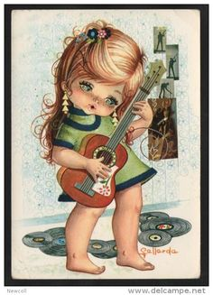Vintage Illustration Cute Vintage Big Eyed Girl Postcard by Gallarda. Vintage Pictures, Vintage Images, Vintage Cards, Vintage Postcards, Cute Images, Cute Pictures, Adorable Petite Fille, Vintage Illustration, Big Eyes
