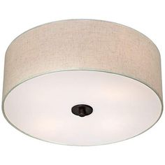 Sylvan 18 wide oatmeal drum ceiling light interiors kitchen bronze with off white shade 18 wide ceiling light fixture 2n838 lampsplus aloadofball Images
