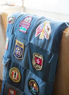 Great idea for using scout patches for a quilt later