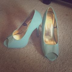 Teal heels Good condition, small scratches but still comfortable F24 Shoes Heels
