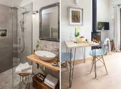 The uniquely named Tickety-Boo cottage is full of small space living ideas Small Space Living, Small Spaces, Bed And Breakfast, Double Vanity, Home Interior Design, Contemporary Style, Building A House, Building Ideas, My House
