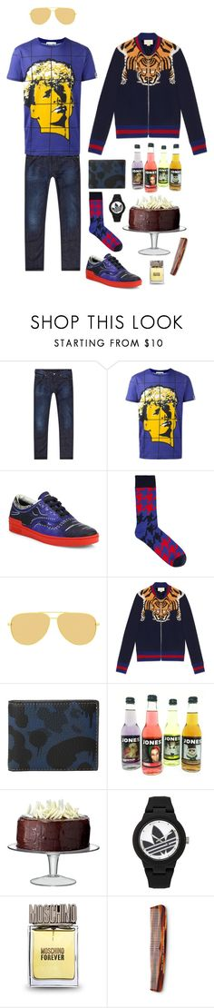 """""""Party Clothes"""" by marcusv ❤ liked on Polyvore featuring Armani Jeans, Moschino, Happy Socks, Yves Saint Laurent, Gucci, Coach, LSA International, adidas, Baxter of California and men's fashion"""