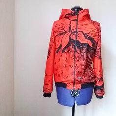 Strawberryjacket36/38 165€  #ecofashion #springjacket #ecodesign #retrotyg #retrostyle #hoppudesign #ompeluelämää #bomber lookalike