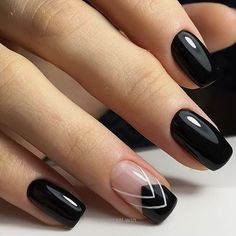 Geometric Black nails | Unhas decoradas geométricas pretas | Chique | Nail art…