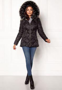 Chiara Forthi Hohhot Down Black - Bubbleroom My Size, Winter Season, Bomber Jacket, Leather Jacket, Shopping, Beige, Black, Style, Fur