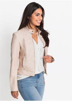 A leather look jacket with zip fastening and a popper collar. Lined. Kids Fashion, Fashion Outfits, Flirt, Model Pictures, Online Clothing Stores, High Collar, White Tees, Jacket Style, High Waist Jeans