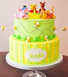 Cakespiration: Winnie the Pooh baby shower cakes Diy Baby Shower Decorations, Boy Baby Shower Themes, Baby Shower Cupcakes, Shower Cakes, Winnie The Pooh Cake, Winnie The Pooh Birthday, Baby Birthday Cakes, Baby Boy 1st Birthday, Bear Cakes