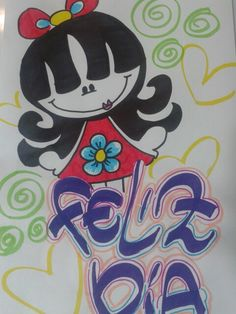 Feliz Dia School Notebooks, Lettering Tutorial, Art Drawings, Graffiti, Diy And Crafts, Minnie Mouse, Disney Characters, Fictional Characters, Doodles