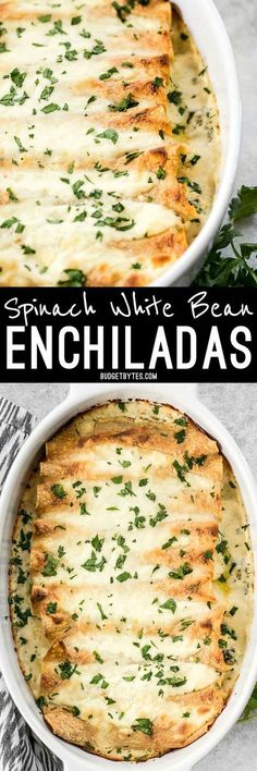 White beans make an inexpensive and fiber filled alternative to chicken in these creamy Spinach White Spinach White Bean Enchiladas.