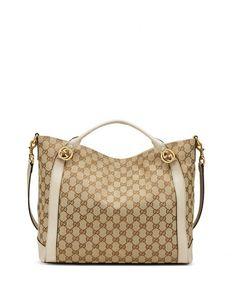 V1XVF Gucci Miss GG Medium Canvas Tote Bag, Beige