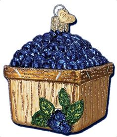 Basket of Blueberries Ornament | Old World Christmas Glass Ornaments | Summertime Ornament | 4th of July Ornament | Picnic Ornament