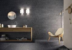 Belgian Blue Stone Polished Lapatto look-alike porcelain tiles by Olympia Tile, the Beestone Collection Olympia Tile, Stone Look Tile, Scandinavian Bathroom, Wall And Floor Tiles, Wall Tiles, Bathroom Flooring, Tile Design, Modern Bathroom, Interiors