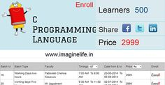 Lean C Programming language Course at your home through online by the experienced Professionals http://www.imaginelife.in/courseslist.php?seqCourseId=68