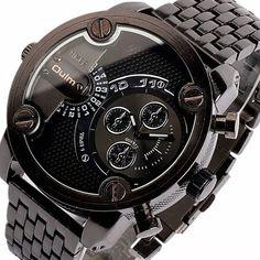 Olum Luxury Waterproof Quartz Watch with Double Movt Analog Indicate Steel Watchband for Men, BLACK in Men's Watches | DressLily.com