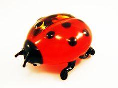 Blown Glass Ladybug Miniature ladybird unique lampwork artglass homedecor boro figurine pretty Sculpture Collectible murano glass art gifts