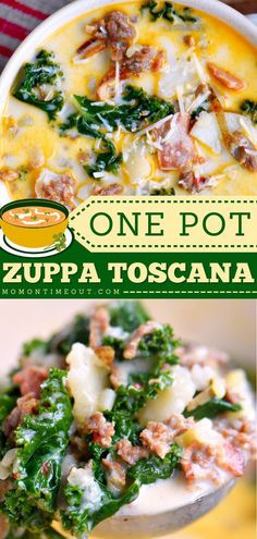 This contains: ONE POT OLIVE GARDEN ZUPPA TOSCANA SOUP, comfort food recipes, simple dinner recipes