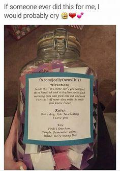 Day Note Jar For Boyfriend Or Girlfriend Gifts Pinterest - Boyfriend puts 365 love notes jar girlfriend read year