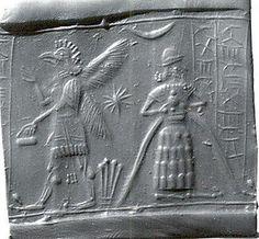Cylinder seal: god with flowing vase; griffin demon