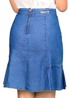 saia jeans clara evase pregas laterais dyork viaevangelica costas detalhe