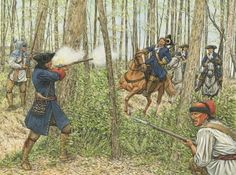 This illustration depicts a clash between Abenaki warriors and Dragoons in 1707. As the Dragoon riders came up, other hidden warriors opened fire on them from the edge of the trees in what was obviously a deliberately planned ambush. During the five‑hour running fight that followed, the Albany militiamen never succeeded in catching up with the elusive warriors, who eventually vanished – taking some scalps with them, and seemingly suffering no casualties themselves.