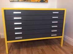 Upcycled grey and yellow A2 plan drawers