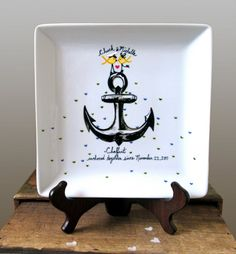 I WANT THIS! USN Love : Yellow Ribbon Love Birds -  Anchor . Hand Painted Plate. $42.00, via Etsy.