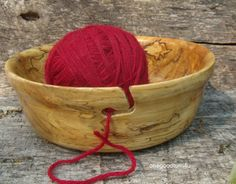 Wood Yarn Bowl Spalted Maple Woodturning Knitting Crochet Woodworking Wool Skein…