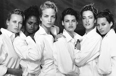 Estelle Lefebure, Karen Alexander, Rachel Williams,  Linda Evangelista, Tatjana Patitz & Christy Turlington by Peter Lindbergh - Buscar con Google